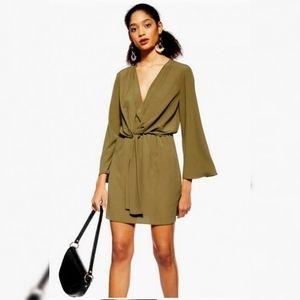 TOPSHOP Olive Green Tie Front Mini Dress